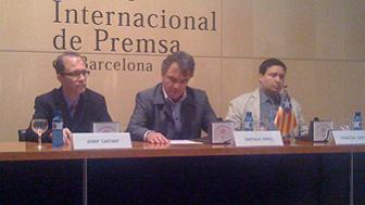 Josep Castany, Santiago Espot i Francesc Castany, durant la roda de premsa