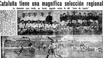 Imagen de la crnica del Catalunya-Espaa de 1947 en 'Mundo Deportivo'